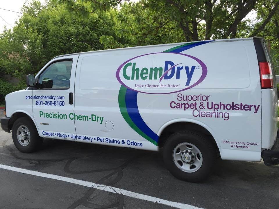 white precision chem-dry carpet cleaning van