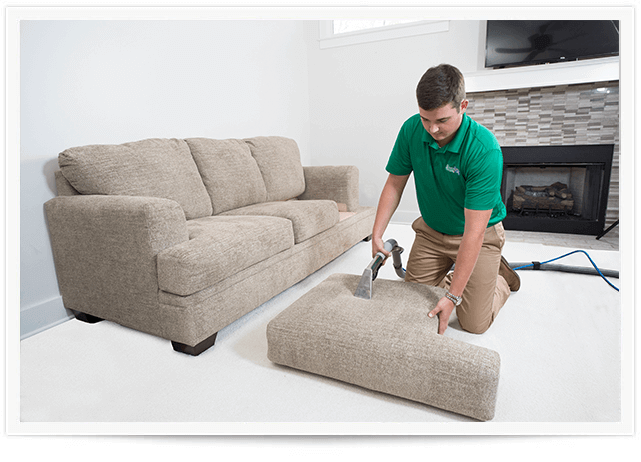 chem-dry tech performing an upholstery cleaning in salt lake city