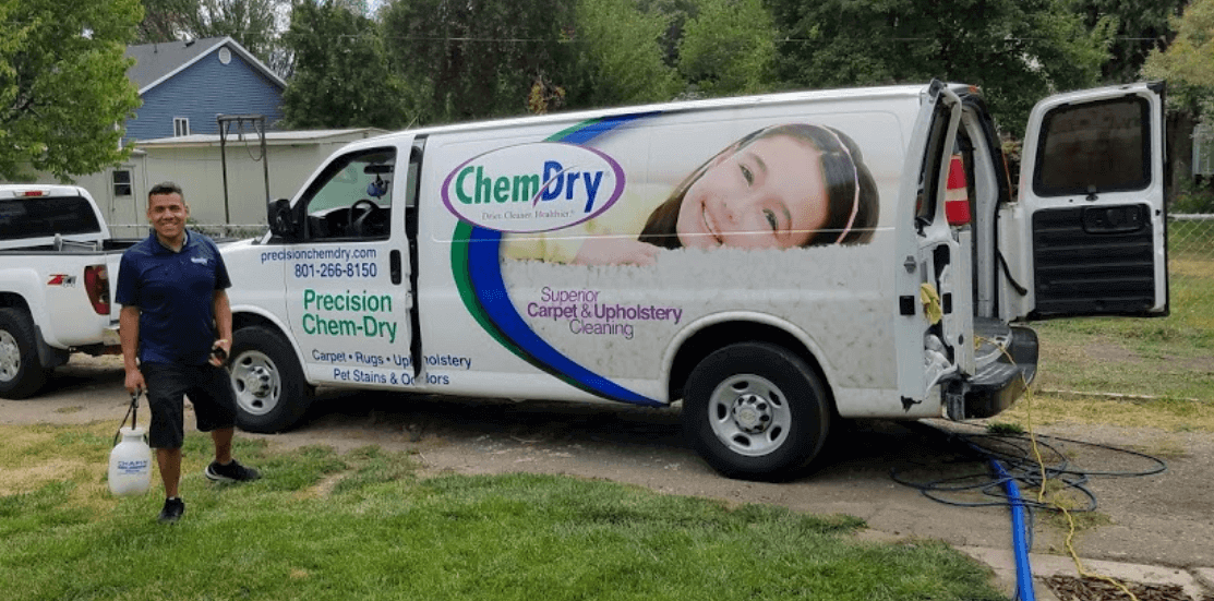 tech and chem-dry van after a carpet cleaning in salt lake city