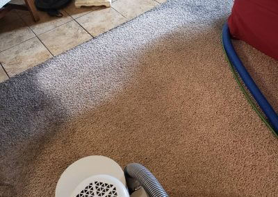 chem-dry tech performing carpet cleaning in salt lake city home