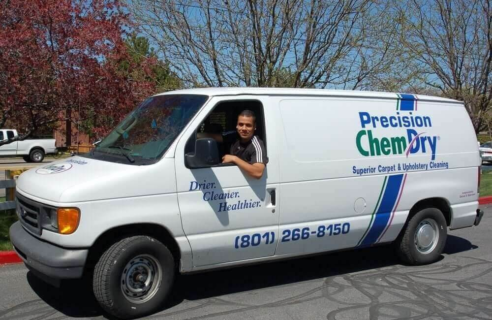 white precision chem-dry carpet cleaning van in SLC