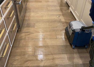 chem-dry tech performing wood floor cleaning in salt lake city ut